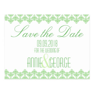 Wedding Save the Date Postcard Spring 2 Damask