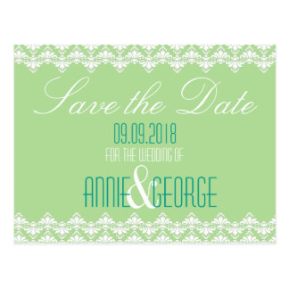Wedding Save the Date Postcard Spring Damask