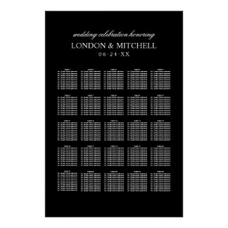 Wedding Seating Chart | Black Classic Elegance Poster