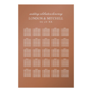 Wedding Seating Chart | Copper Classic Elegance Poster