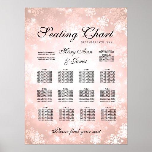 Wedding Seating Chart Copper Winter Wonderland