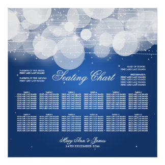 Wedding Seating Chart Glow & Sparkle Blue Poster