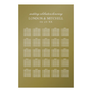Wedding Seating Chart | Gold Classic Elegance