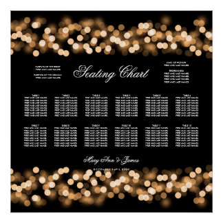 Wedding Seating Chart Gold Hollywood Glam Poster
