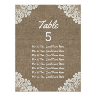 Wedding Seating Chart | Rustic Burlap & Lace Poster