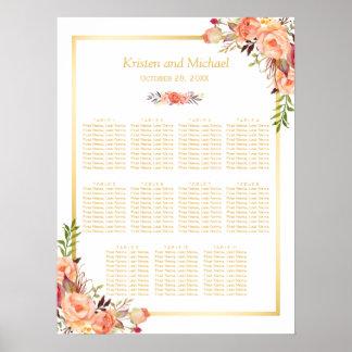 Wedding Seating Chart Rustic Orange Flowers Gold Poster