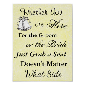 """Wedding Seating Chart, Sit """"wherever"""" Poster"""