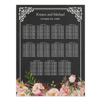 Wedding Seating Chart Vintage Floral Chalkboard