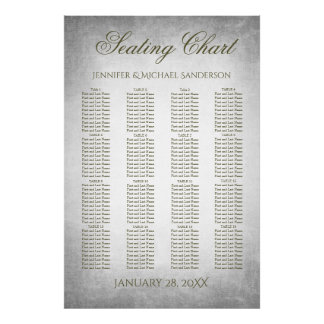 Wedding Seating Chart Vintage Silver
