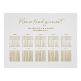 Wedding Seating Plan Stylish Golden Lettered Sign