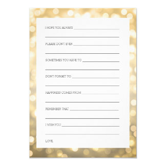 Wedding Shower Wishes Gold Glitter Lights Card