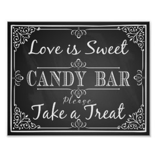 Wedding sign candy bar love is sweet chalkboard poster