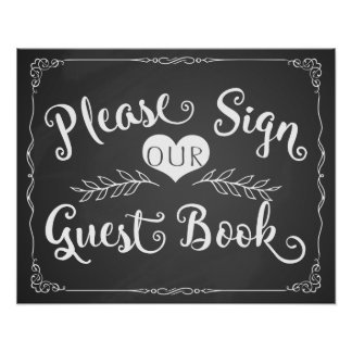 "Wedding sign chalkboard ""Guest book"" Poster"