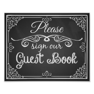 "Wedding sign chalkboard ""Guest book"" print"