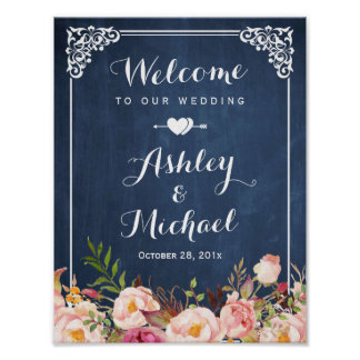 Wedding Sign Vintage Blue Chalkboard Floral Poster
