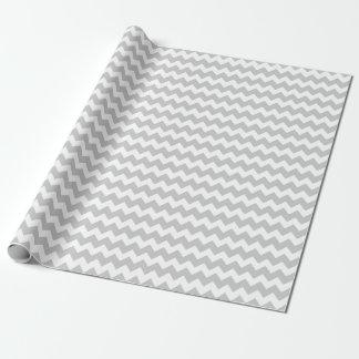 Wedding Silver Gray White Zigzag Chevron Stripes Wrapping Paper