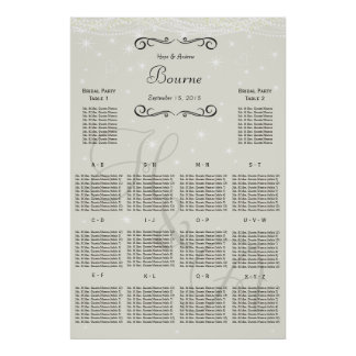 Wedding Special Event Guest Seating Chart Poster