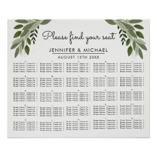 Wedding Sprigs - Alphabetical Seating Chart Poster
