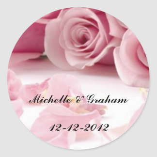 Wedding Sticker Pink Roses