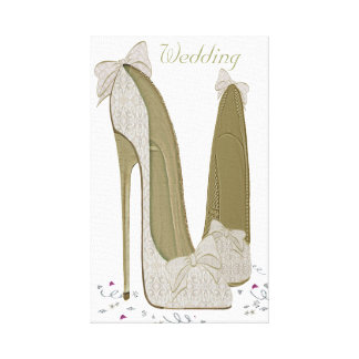 Wedding Stiletto Shoes Wrapped Canvas