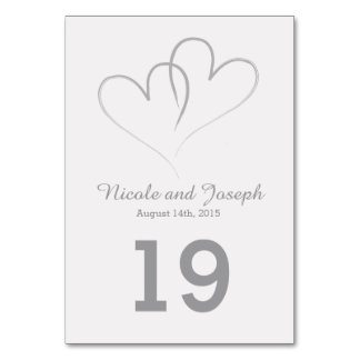 Wedding Table Card - Two Silver Hearts intertwined