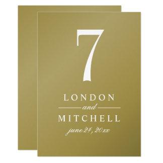 Wedding Table Number Card | Gold Elegance