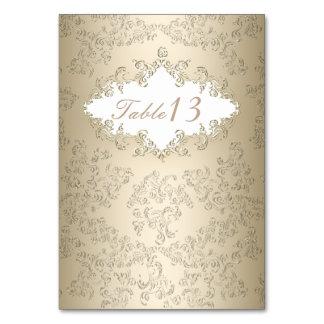 Wedding table number cards - wedding Gold elegant Table Card