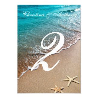 Wedding Table Number Heart on the Shore Beach Card