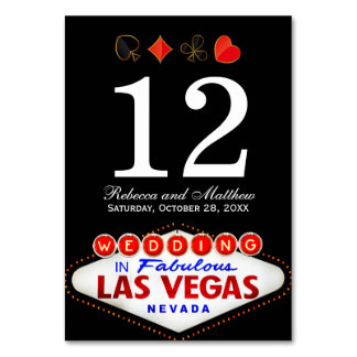 Wedding Table Number in Fabulous Las Vegas Table Card