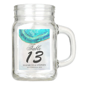 Wedding Table Number Watercolor Teal & Gold Agate Mason Jar