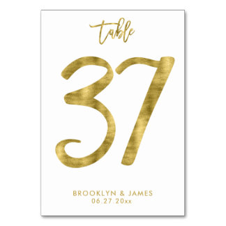 Wedding Table Numbers Gold Foil Effect Number 37