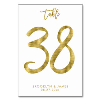 Wedding Table Numbers Gold Foil Effect Number 38