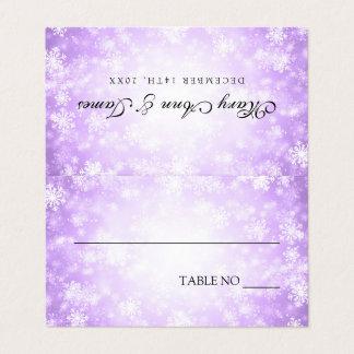Wedding Tent Placecards Purple Winter Wonderland Place Card