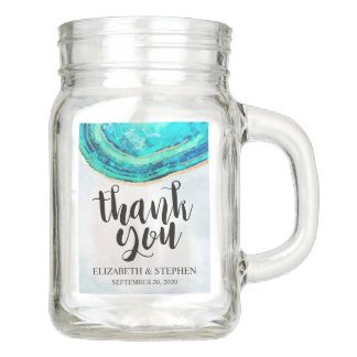 Wedding Thank You Favor Watercolor Teal Gold Agate Mason Jar