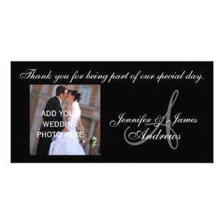 Wedding Thank You Monogram A and Message Photo Card