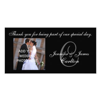 Wedding Thank You Monogram C and Message Customized Photo Card