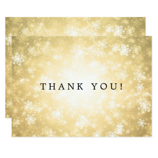 Wedding Thank You Note Gold Winter Wonderland Card