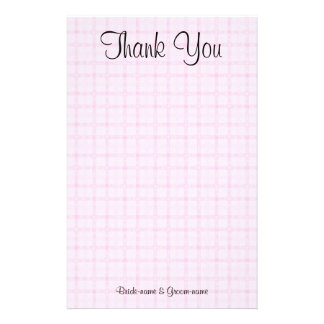 Wedding Thank You. Pale Pink Check and Black Text. Stationery