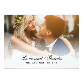 Wedding Thank You Photo Card Love and Thanks