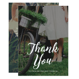 Wedding Thank you Photo with Typography Card