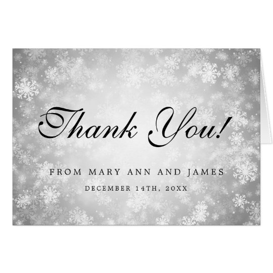 "Wedding ""Thank you"" Silver Winter Wonderland Card"