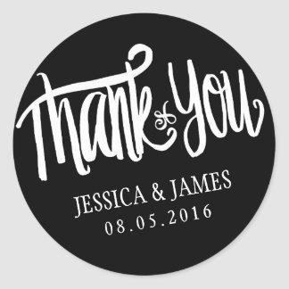 Wedding Thank You Sticker with Calligraphy Font
