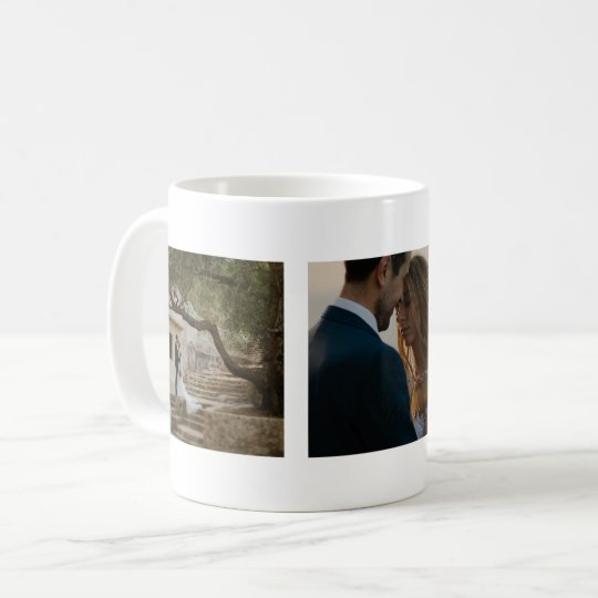 Wedding Three Photos Couple Customised Coffee Mug