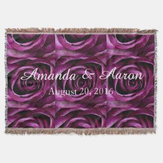 Wedding Throw Blanket, Purple Rose