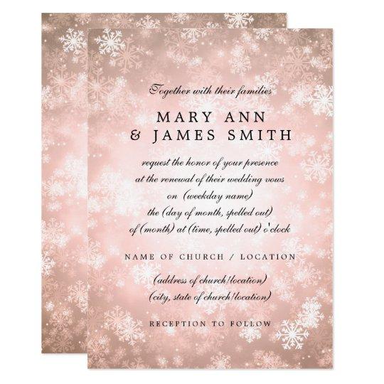 Wedding Vow Renewal Copper Winter Wonderland Card