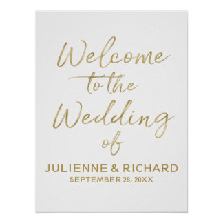 Wedding Welcome Stylish Golden Lettered Sign