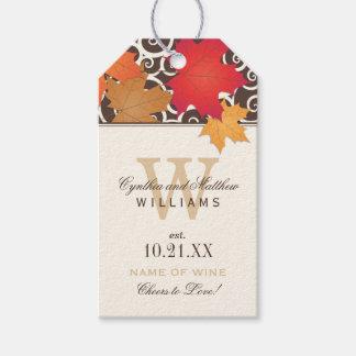 Wedding Wine Favour Tag | Autumn Leaves