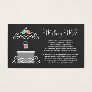 Wedding Wishing Well Cute Love Birds Business Card