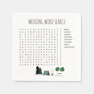 Wedding Word Search Cocktail Napkins Disposable Serviette
