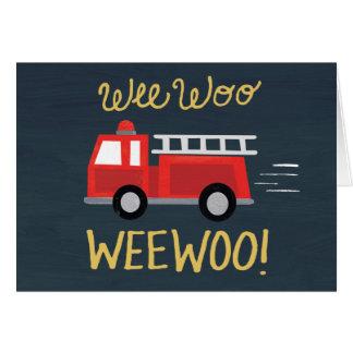 Wee Woo! Firetruck Birthday Card